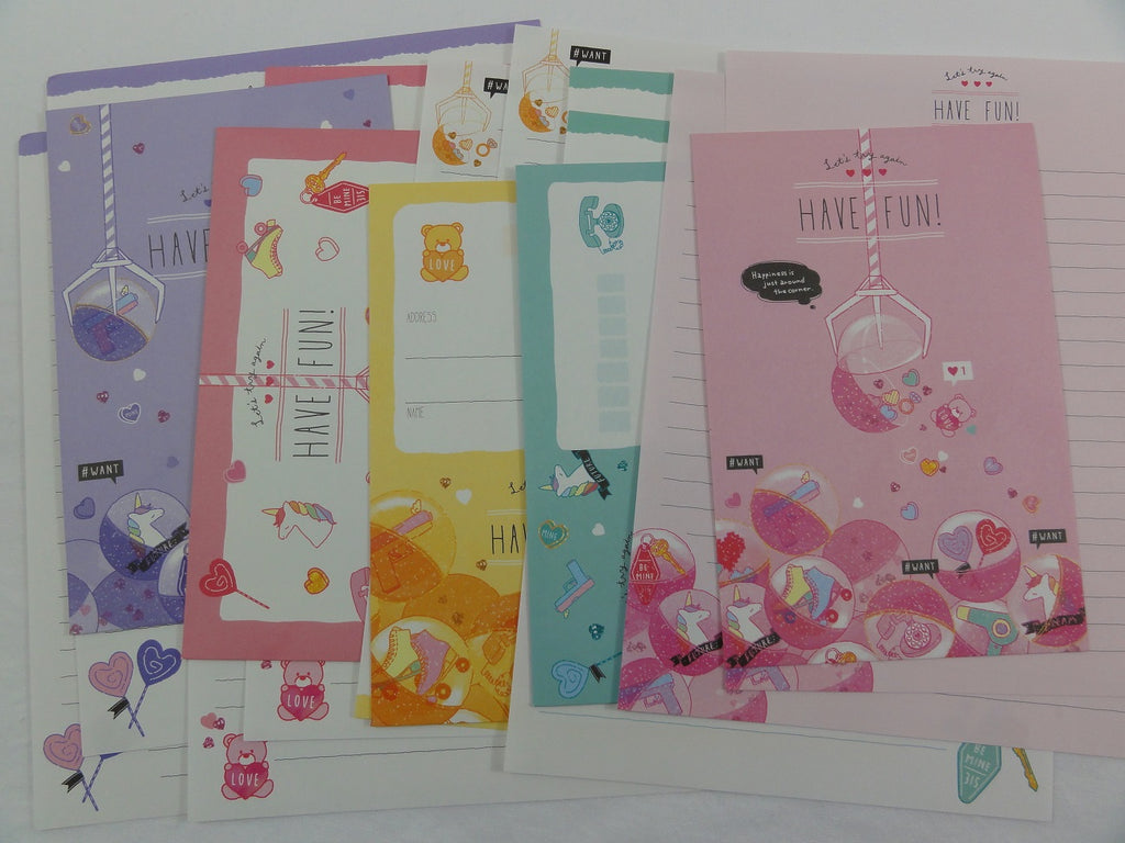 Cute Kawaii Crux Claw Crane Fun Candy Unicorn Letter Sets - Stationery Writing Paper Envelope