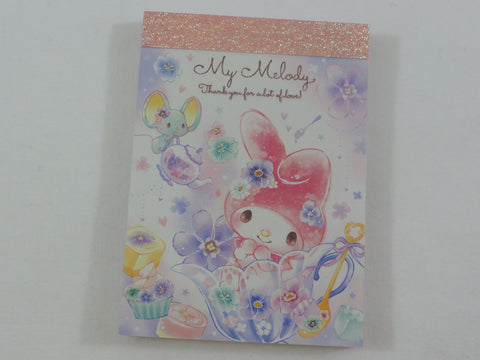 Cute Kawaii Sanrio My Melody Spring Flowers Mini Notepad / Memo Pad - Stationery Design Writing Collection