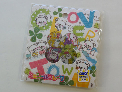 Cute Kawaii Crux Clover Town Bear Flake Stickers Sack - Vintage