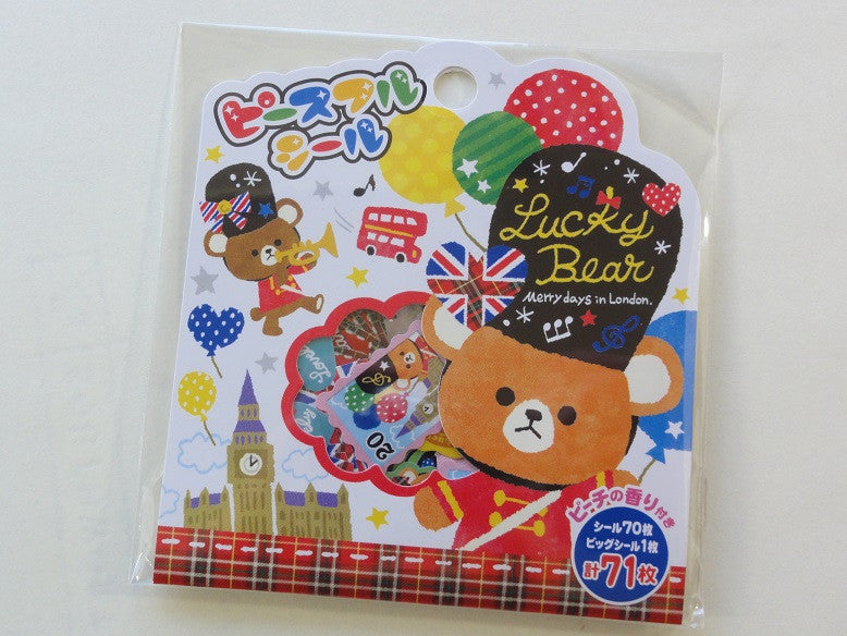 Cute Kawaii Mind Wave Bear Merry Days in London Stickers Flake Sack - Vintage