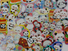 Cute Kawaii Panda theme Flake Sack Stickers - 41 pcs + 1 Large Sticker