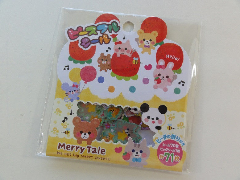 Cute Kawaii Mind Wave Merry Tale Sweet Animal Flake Stickers Sack - Vintage