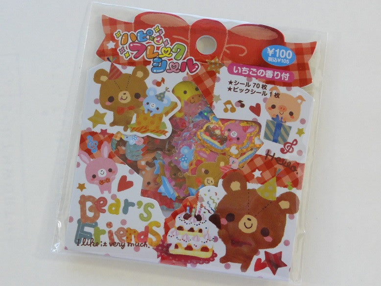 z Cute Kawaii Pool Cool Bear's Friends Stickers Flake Sack - Vintage A
