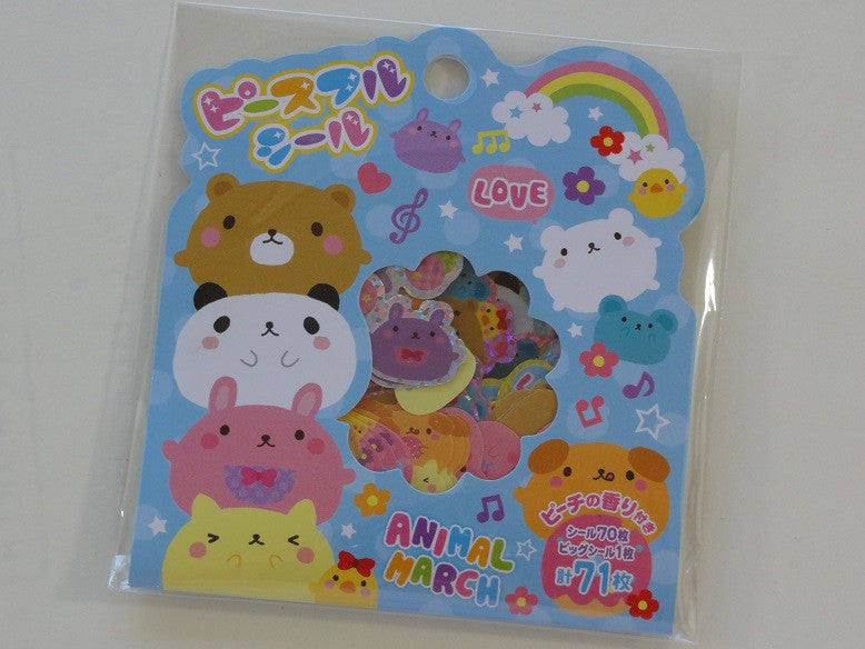 Cute Kawaii Mind Wave Animal March Stickers Sack - Vintage