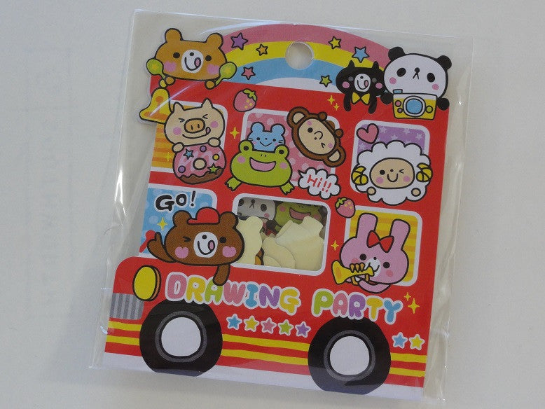 Cute Kawaii Kamio Drawing Party Animal Stickers Sack - Vintage