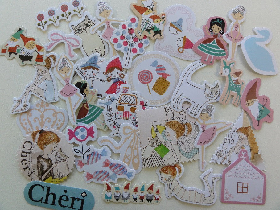 Cute Kawaii Shinzi Katoh Fairy Tale Story Flake Stickers