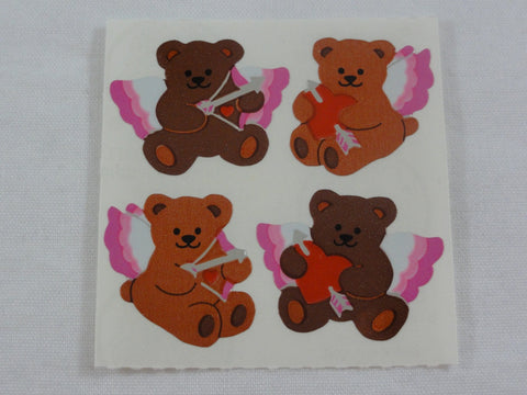 Sandylion Bear Heart Valentine Shiny Mylar Sticker Sheet / Module - Vintage & Collectible