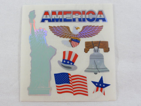Sandylion America Flag Symbols Shiny Sticker Sheet / Module - Vintage & Collectible