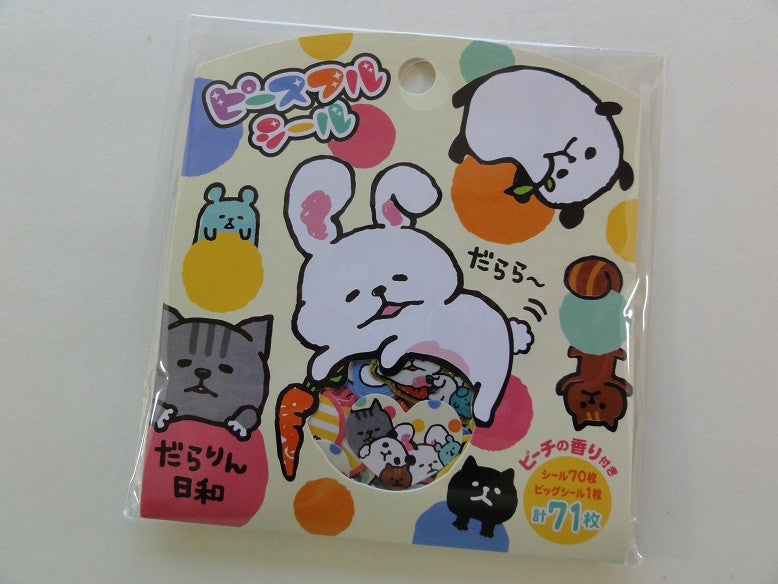Cute Kawaii Mind Wave Relax Sleeping Animal Flake Stickers Sack