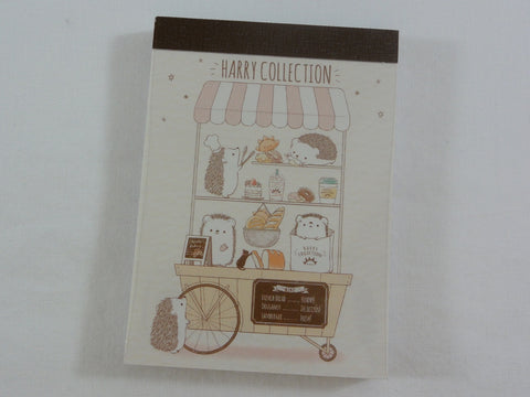 Cute Kawaii Kamio Hedgehog Street Cafe Food Shop Mini Notepad / Memo Pad - Stationery Designer Paper Collection