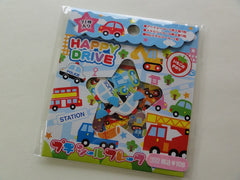 z Cute Kawaii Kamio Happy Drive Fire Truck Boy Flake Stickers Sack A - Vintage