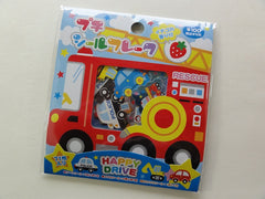 z Cute Kawaii Kamio Happy Drive Fire Truck Boy Flake Stickers Sack B - Vintage