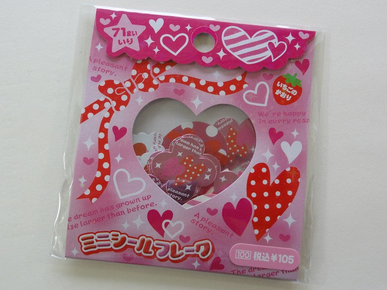Cute Kawaii Heart Flake Stickers Sack B - Vintage