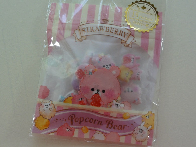 z Cute Kawaii Crux Popcorn Bear Flake Stickers Sack - Strawberry