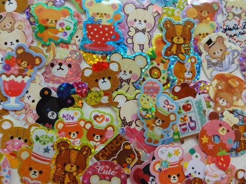 Cute Kawaii Bear Flake Stickers - 74 pcs