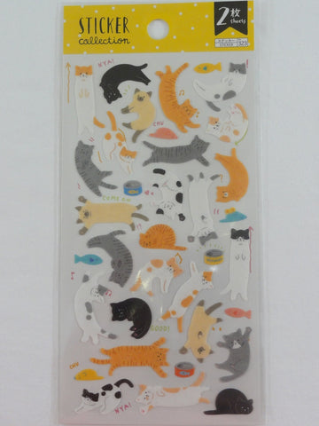 Cute Kawaii Daiso Cat Kitten Sticker Sheet - 2 sheets - for Journal Planner Craft Organizer