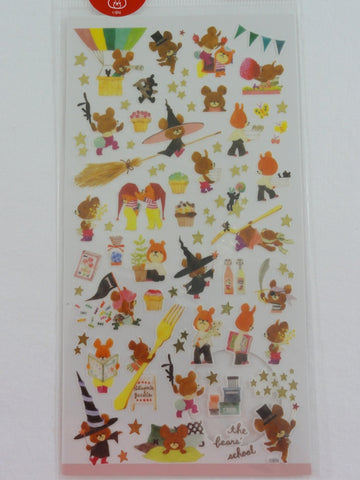 Cute Kawaii Mind Wave Bear Witch School Sticker Sheet - for Journal Planner Craft Organizer