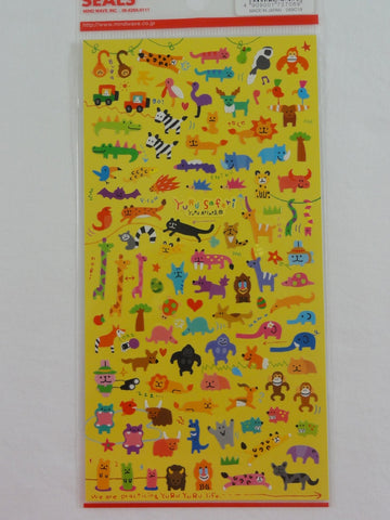 Cute Kawaii Mind Wave Animals Hippo Giraffe Wild Zoo Sticker Sheet - for Journal Planner Craft
