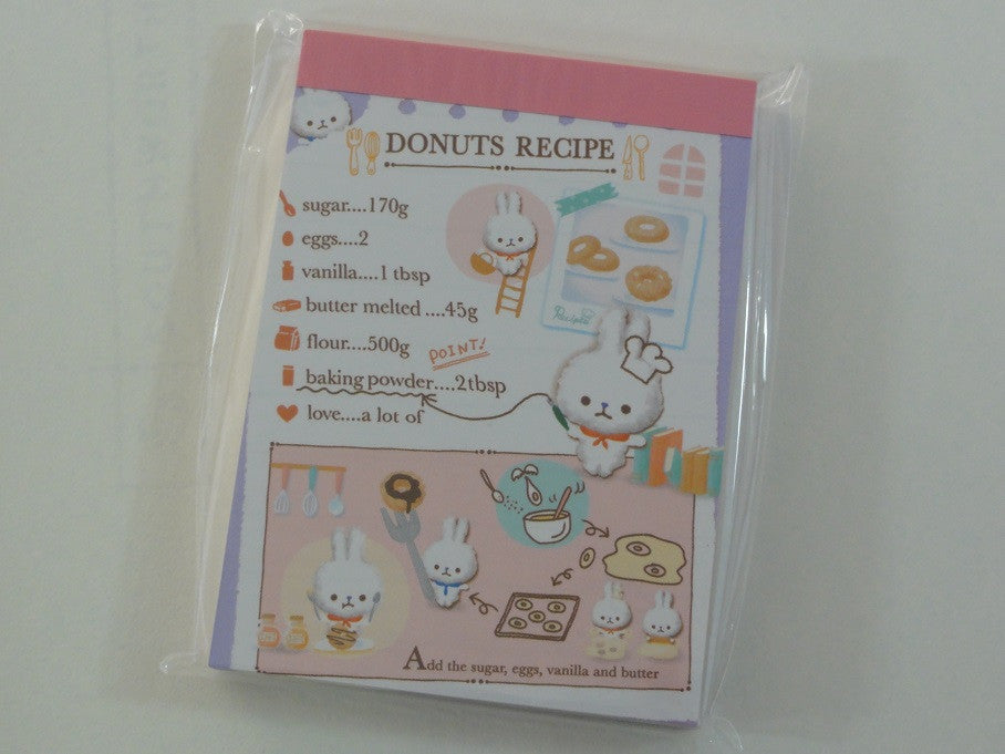 Cute Kawaii Q-Lia Donuts Recipe Rabbit Kitchen Bakery Mini Notepad / Memo Pad