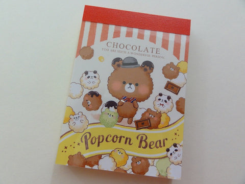 Cute Kawaii Crux Popcorn Bear Chocolate Mini Notepad / Memo Pad