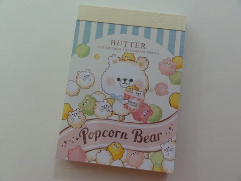 Cute Kawaii Crux Popcorn Bear Butter Mini Notepad / Memo Pad