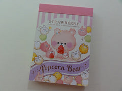 Cute Kawaii Crux Popcorn Bear Strawberry Mini Notepad / Memo Pad