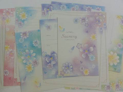 Crux Flowers Scenery Letter Sets - Stationery Writing Paper Envelope