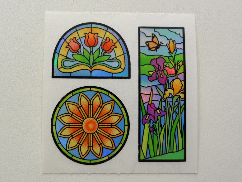 Sandylion Flower Stained Glass Sticker Sheet / Module - Vintage & Collectible