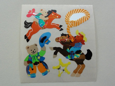 Sandylion Bear Cowboy Foil Sticker Sheet / Module - Vintage & Collectible
