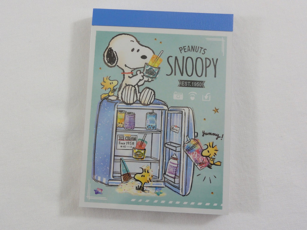 Cute Kawaii Snoopy Drinks What's in the Refrigerator Mini Notepad / Memo Pad - Stationery Designer Writing Paper Collection