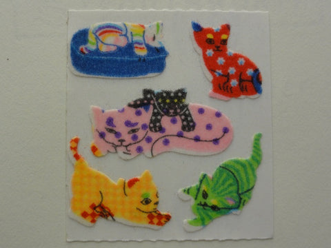 Sandylion Cat Kitten Fuzzy Sticker Sheet / Module - Vintage & Collectible