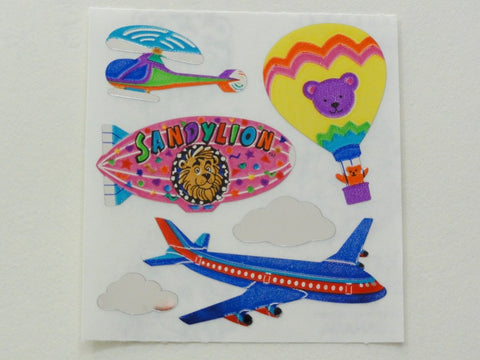 Sandylion Airplance Helicopter Hot Air Balloon Shiny Sticker Sheet / Module - Vintage & Collectible