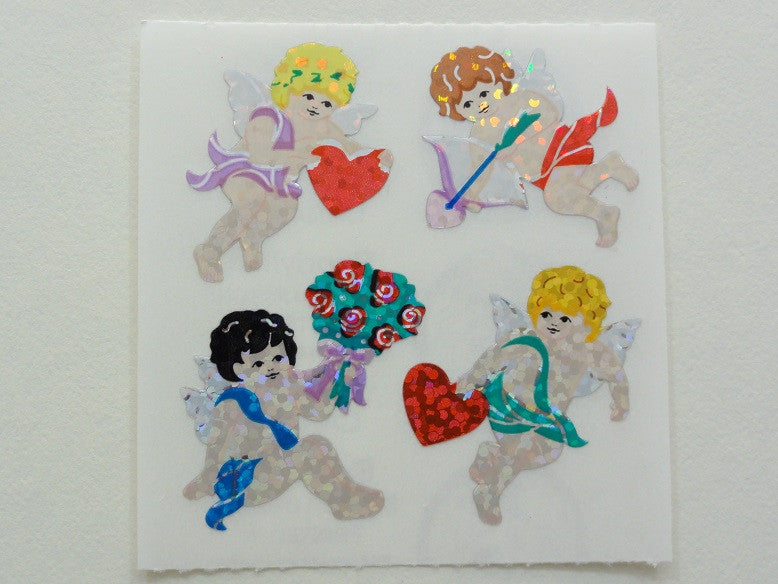 Sandylion Angel Heart Valentine Glitter Sticker Sheet / Module - Vintage & Collectible