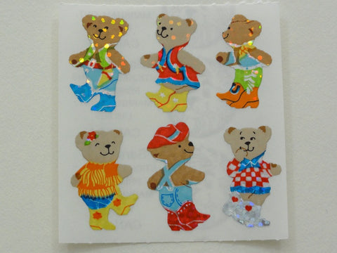 Sandylion Bear in Boots Glitter Sticker Sheet / Module - Vintage & Collectible