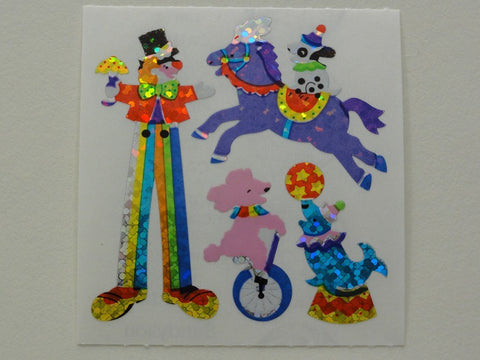 Sandylion Clown Glitter Sticker Sheet / Module - Vintage & Collectible