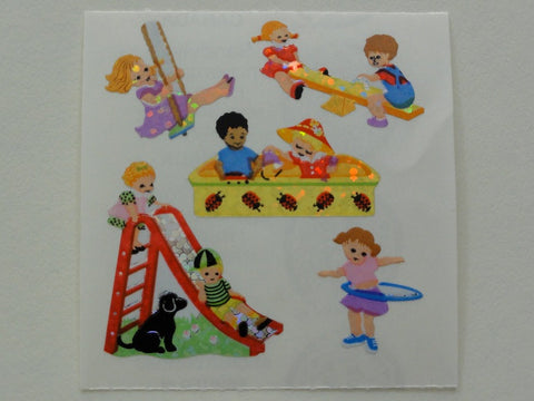Sandylion Children in Playground Glitter Sticker Sheet / Module - Vintage & Collectible