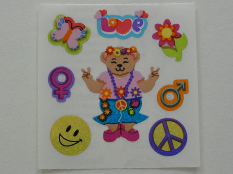 Sandylion Bear Peace Glitter Sticker Sheet / Module - Vintage & Collectible