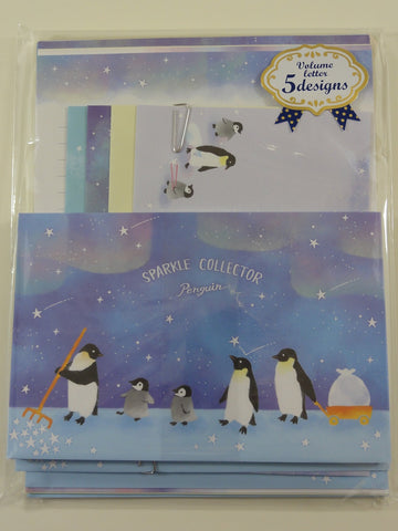 Cute Kawaii Mind Wave Penguin Starry Night Letter Set Pack - Stationery Writing Paper Envelope Pen Pal