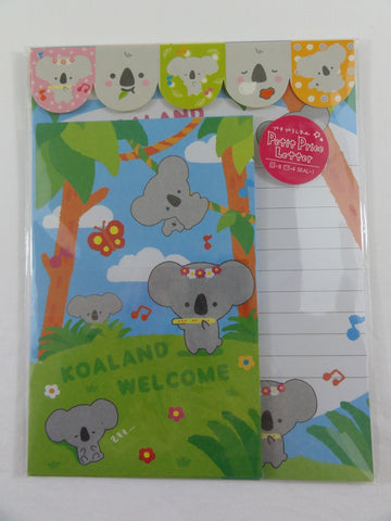 Cute Kawaii Koala Land Letter Set Pack with Stickers - Stationery Writing Paper Envelope