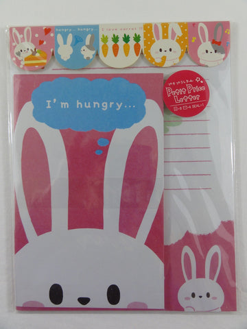 Cute Kawaii Hungry Rabbit Letter Set Pack with Stickers - Stationery Writing Paper Envelope