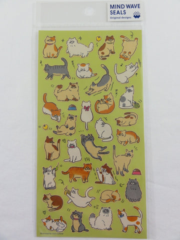 Cute Kawaii Mind Wave Cat Fun Sticker Sheet - for Journal Planner Craft Scrapbook Notebook Organizer