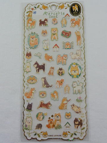 Cute Kawaii Kamio Dog Puppy Sticker Sheet - with Gold Accents - for Journal Planner Craft Agenda Organizer Scrapbook
