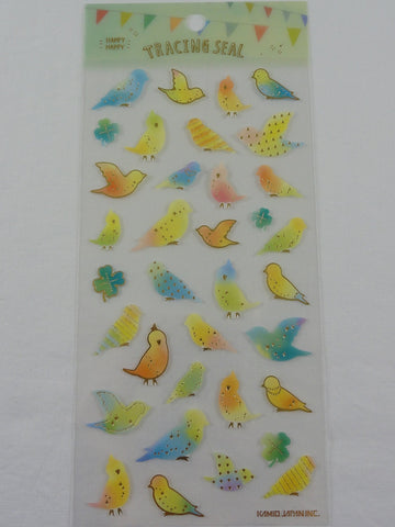 Cute Kawaii Kamio Birds Spring Sticker Sheet - with Gold Accents - for Journal Planner Craft Agenda Organizer Scrapbook