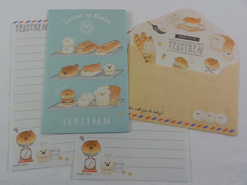 Cute Kawaii Kamio Bread and Dog Puppy Mini Letter Sets - B -  Small Writing Gift Secret Note Envelope Set Stationery