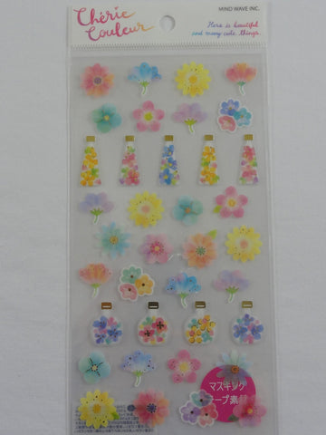 Cute Kawaii Mind Wave Beautiful Flowers Sticker Sheet - for Journal Planner Craft Organizer Calendar