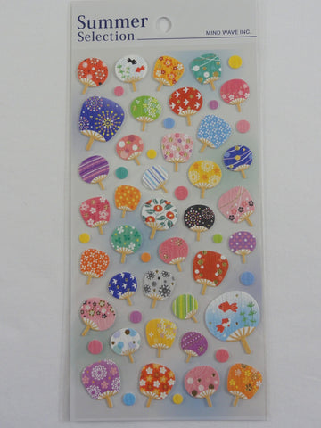Cute Kawaii Mind Wave Beautiful Hand Fan Sticker Sheet - for Journal Planner Craft Organizer Calendar