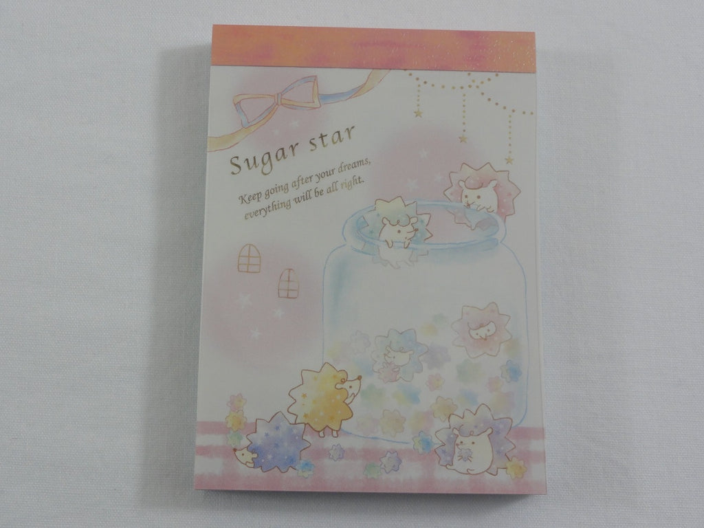 Cute Kawaii Crux Hedgehog Sugar Star Mini Notepad / Memo Pad - Stationery Designer Paper Collection