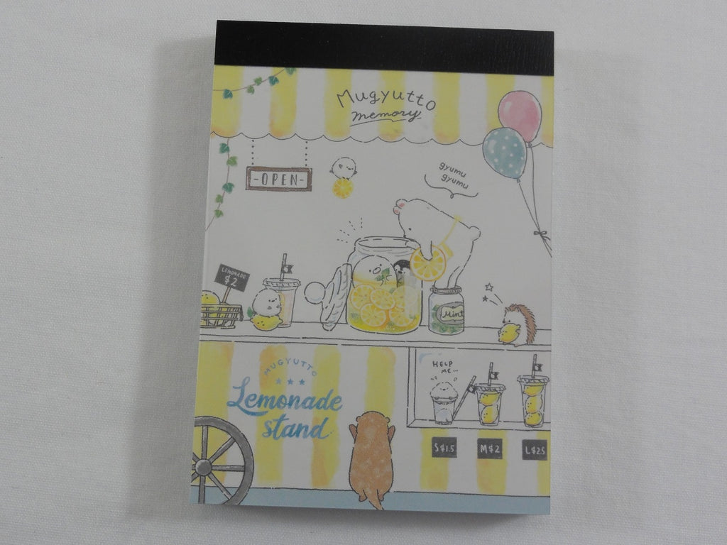 Cute Kawaii Hedgehog Bear Penguin Mugyutto Lemonade Stand Mini Notepad / Memo Pad - A - Stationery Design Writing Collection