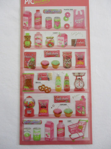 Cute Kawaii Crux Pick Me Sticker Sheet - Red - Market Pantry Strawberry Milk Pretzel Candy - for Journal Planner Craft