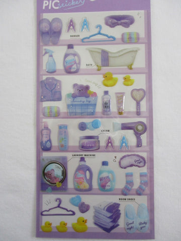 Cute Kawaii Crux Pick Me Sticker Sheet - Purple - Bath Clean Laundry Wash - for Journal Planner Craft